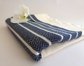 Premium Turkish Towel, Peshtemal, Bath and Beauty, Bath and Body, Hammam, for him, Natural, spa, Navy, mom,, mother's day