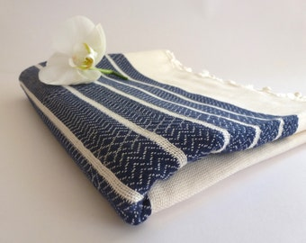 mother's day gift, Premium Turkish Towel, Peshtemal, Bath and Beauty, Bath and Body, Hammam, for him, Natural, spa, Navy, mom, mother's day
