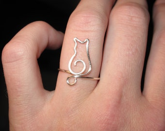 Wire Wrapped Tiny Kitty MADE TO ORDER Adjustable Ring