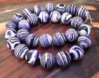 Charm 14mm Round Purple Zebra Stripe malachite gemstone bead Loose Full One strand
