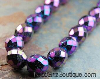 8mm Purple Iris Czech Beads Faceted  -25
