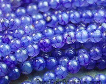 Purple Dragon Vein 6mm Round Agate  -15 inch strand