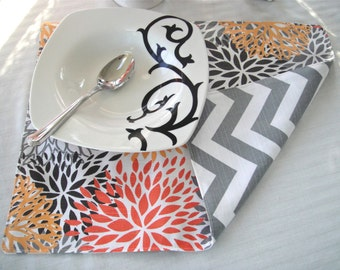 Fall Placemats- Blooms and Chevron Available In Sets of 4 or 6, Cotton Placemats