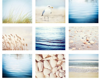 Beach Photo Set - 9 11x14, 8x10, 5x7 Photographs, ocean photography light blue sea coastal wall print set seashore pale cream white nautical