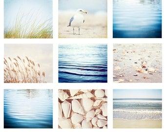Beach Photo Set - 9 11x14, 8x10, 5x7 Photographs, ocean photography light blue sea coastal wall print set seashore pale cream white nautical