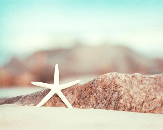 "Seashore Photography - starfish beach photography star fish coastal wall art aqua blue ocean white - 11x14, 8x10 Photograph, ""Lucky Star"""