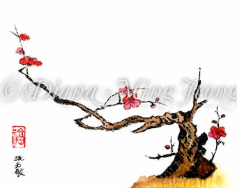 "Watercolor Chinese Brush Painting Card ""Plum Tree Blossoms"""