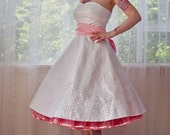 1950's 'Betty'  Style White Wedding Dress with Polka Dot Overlay, Sweetheart Neckline, Tea Length Skirt and Petticoat - Custom made to fit