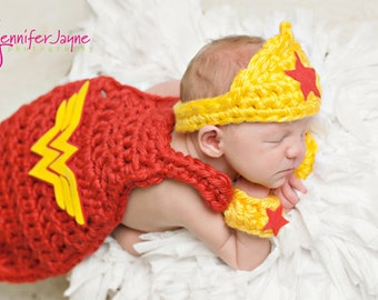 Little Girl Superhero inspired cape Newborn Photography Prop.  3 piece set, cape, crown and wristlets