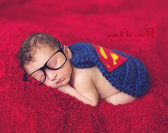 Superhero inspired cape Newborn Photography Prop with Clark Kent Nerd Glasses