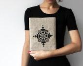 SALE - Embroidered iPad sleeve iPad case Tribal ethnic black ornament