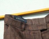 Vintage 80's  ESCADA Pants Checkered Wide leg pants S