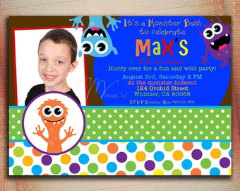 Monster Mash Birthday Invitation, Monster Party Birthday Invitation, Little Monster Birthday Invitation-Digital File You Print