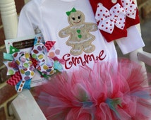 Baby Girl Christmas Tutu Outfit - Christmas Cookie - Girls Bodysuit, leg warmers, tutu & Over The Top bow - Gingerbread girl