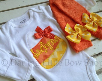 Baby Girl Halloween Outfit - Candy Corn Sweetie - Newborn Outfit -- personalized bodysuit and leg warmers
