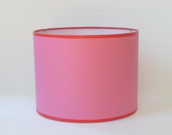 medium drum lamp shade lampshade pink matte paper with red trim. Black Bedroom Furniture Sets. Home Design Ideas
