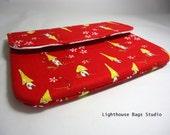 iPad Mini Sleeve / Woodland Village in Red Fabric