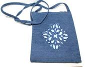 Blue denim cotton color removal print medallion fancy motif hip bag purse long strap
