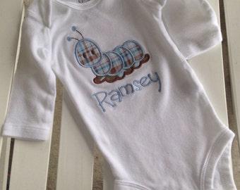 Baby Onesie Personalized Monogrammed Caterpillar blue or pink plaid/polka dot Appliqued baby onesie