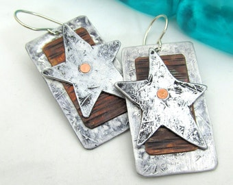 Mixed Metal Earrings with Copper - Star Earrings - Aluminum and Sterling Silver Ear Wires - Hand Stamped Jewelry Dangle Earrings with Rivets