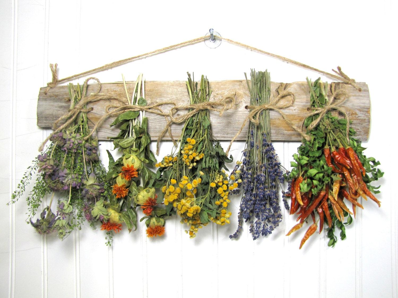 Dried herb rack dried floral arrangement kitchen decor herb for Kitchen decoration with flowers