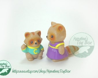 Furry Families Raccoons by Takara Miniature Raccoon Mother and Son