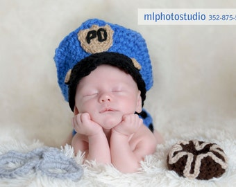 Police Officer Set Crochet Baby Boy Hat, Diaper cover, Doughnut and Handcuffs Photography Prop Ready Item