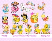 Digital Clipart, instant download, Vintage Easter Images, Easter Chicks, ducks bluebirds, Easter Bonnet, Ducklings clip art  PNG files  1436