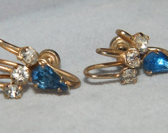 Vintage Signed Faceted Blue Rhinestone Gold Tone Clip On Earrings