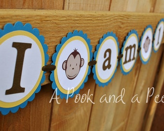 "Blue and Yellow ""I am one"" Boy Monkey High Chair Banner First Birthday"