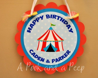Big Top Circus Tent Personalized Birthday Hanging Door Sign in Red Blue and Yellow Customizable for Colors and Showers