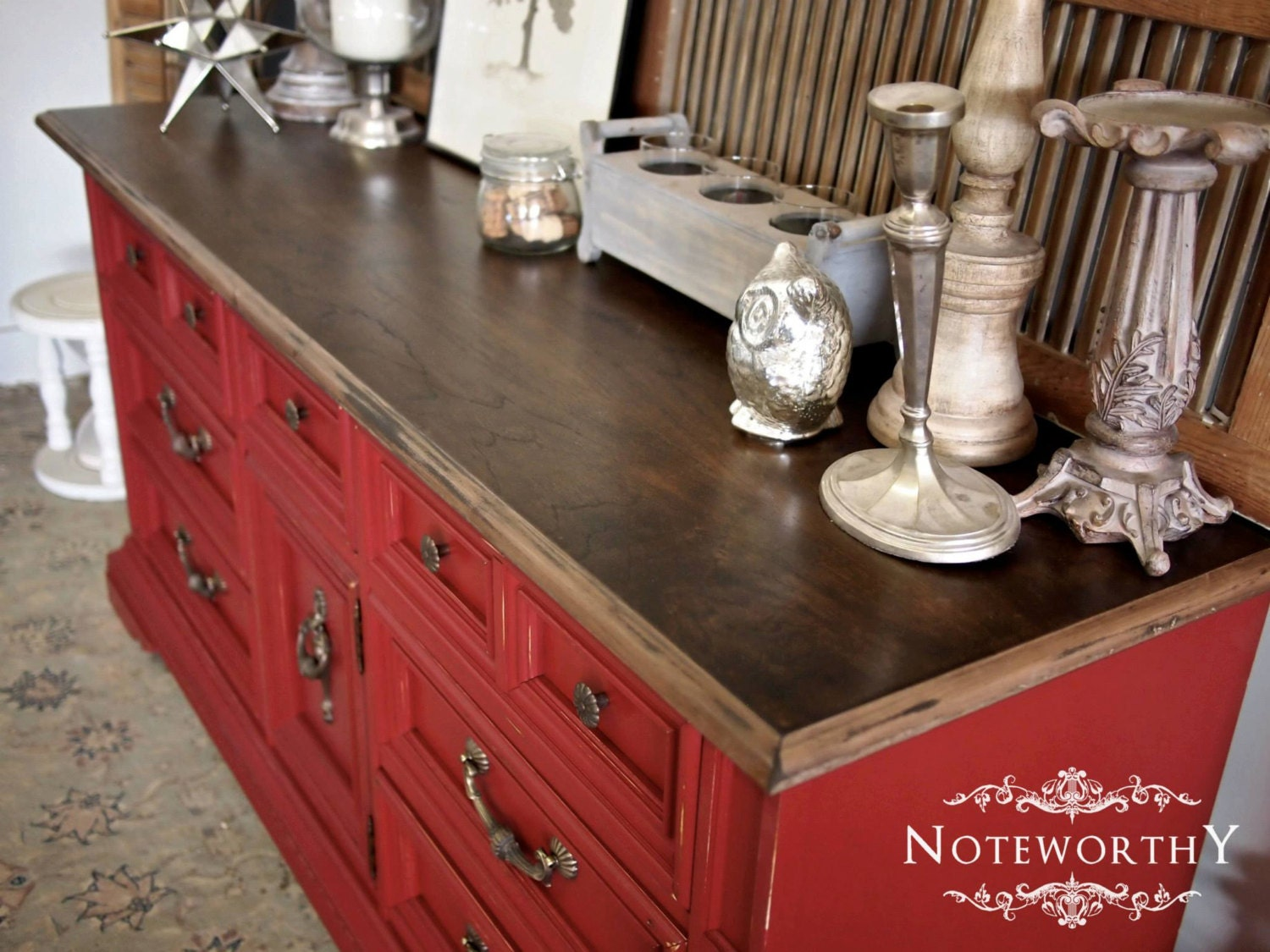 red distressed buffet with walnut stained top