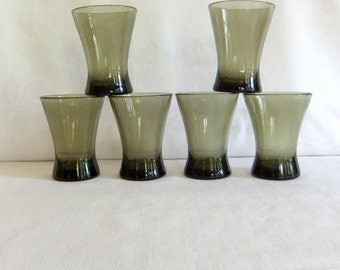 6 Vintage Smoke Brown Drinking Glasses - Mid Century Modern, Groovy, Mod, Medium Tumbler, Hourglass, Heavy, Weighted Base, 1970, Fluted