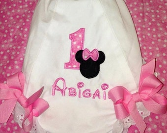 First Birthday Personalized Minnie Mouse inspired diaper cover