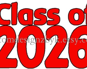 iron-on shirt decal Class of 2026 2nd Grade, availalbe with any year for any grade and age