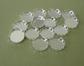 14-Cabochon Cameo Settings  Round Bezel Lace Edge Silver Plated Brass 12mm