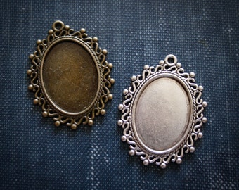 6 Vintage Oval Pendant settings ( 18 mm x 25 mm inside ) Antique Silver or Antique Bronze - Perfect for Wedding Bouquet Charms
