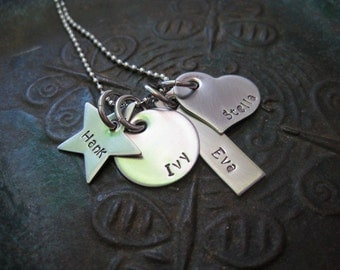 Mothers Day - Stamped Jewelry - Family Necklace - Mothers Necklace - Mommy Necklace - Grandmas Necklace - Personalized Necklace