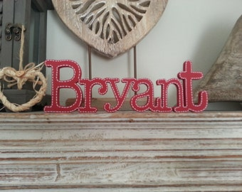 Personalised Wooden Name Sign - For Doors, Walls, Etc, various colours and finishes available - Typewriter Font