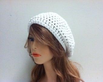 Crochet Beret Hat / WHITE