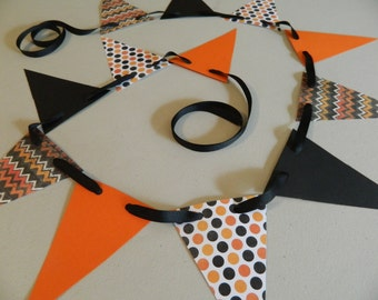Paper Garland -Halloween Garland- Halloween Decorations-Chevron and Polka dot Halloween Decor Holiday Garland photo prop