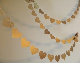 Gold Wedding garland -10ft Metallic Gold Hearts  -Wedding Decor - Bridal Shower Decor /Photo Prop / Heart Garland / your colors