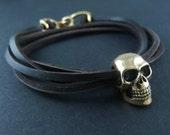 Skull Bracelet - Bronze Human Skull Bracelet - Rocker Bracelet