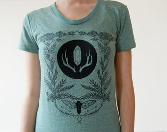Heathered Seafoam Cicada and Yarrow Screen Print Women's T-Shirt