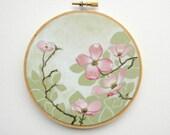 Dogwood tree - Hoop Art - Original Acrylic Painting on an Embroidery Hoop