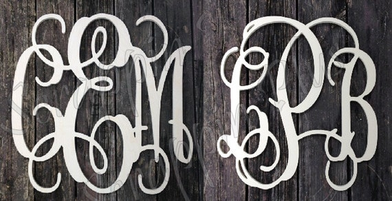 3 pack of 32 inch Vine connected wooden monogram letters - unpainted