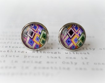 ON SALE  Geometric Diamonds Colourful Stud Earrings