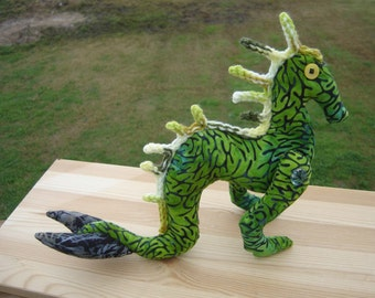 Green Kelpie Water Horse lake monster folklore horror plush doll handmade original pattern, mermaid tail monster