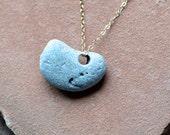 Sea Stone Necklace, Delicate Gold Chain