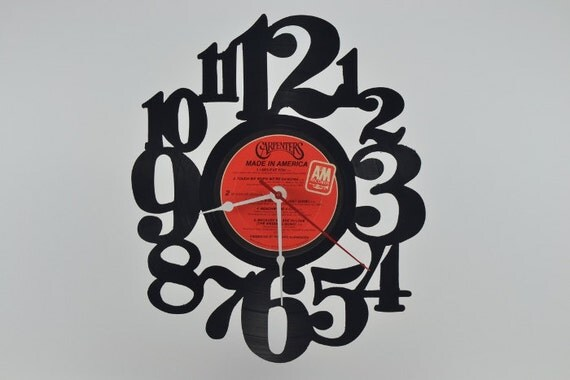 Unique Handmade Vinyl Record Clock (artist is The Carpenters)